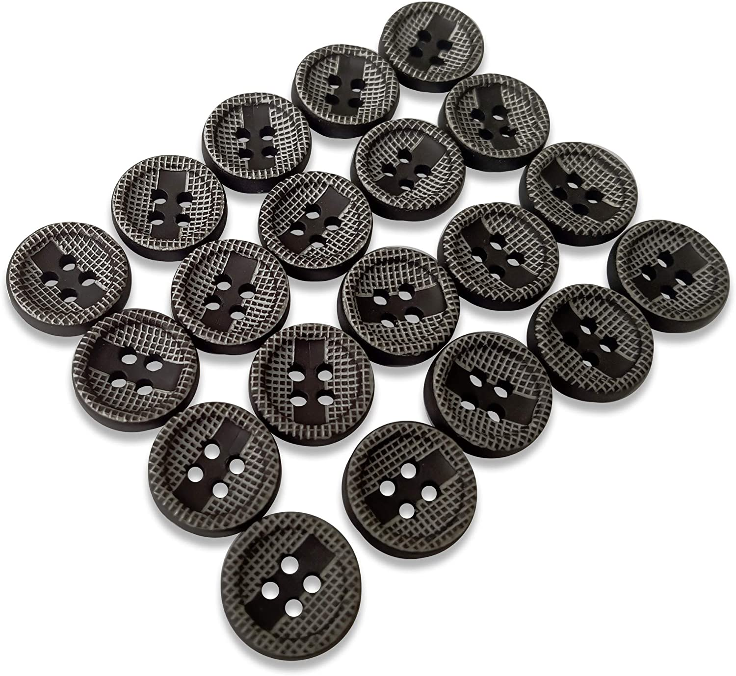 Grey Black Round Blouse Button 4-Hole 0.45 in Sewing Plastic Buttons 18L Pack of 20
