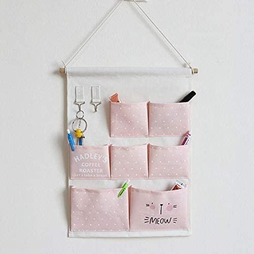 Linen Cotton Fabric 7 Pockets Wall Door Cloth Hanging Storage Bag Home Organizer ,Home Organizer Over The Door Storage Pockets for Bedroom,Bathroom,Office