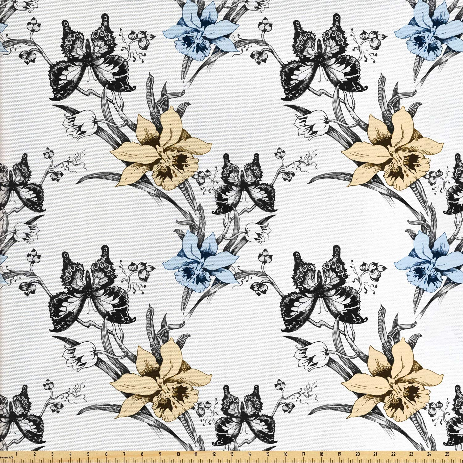 Ambesonne Vintage Fabric by The Yard, Detailed Sketchy of Snapdragon Flower and Butterflies, Decorative Fabric for Upholstery and Home Accents, 1 Yard, Multicolor