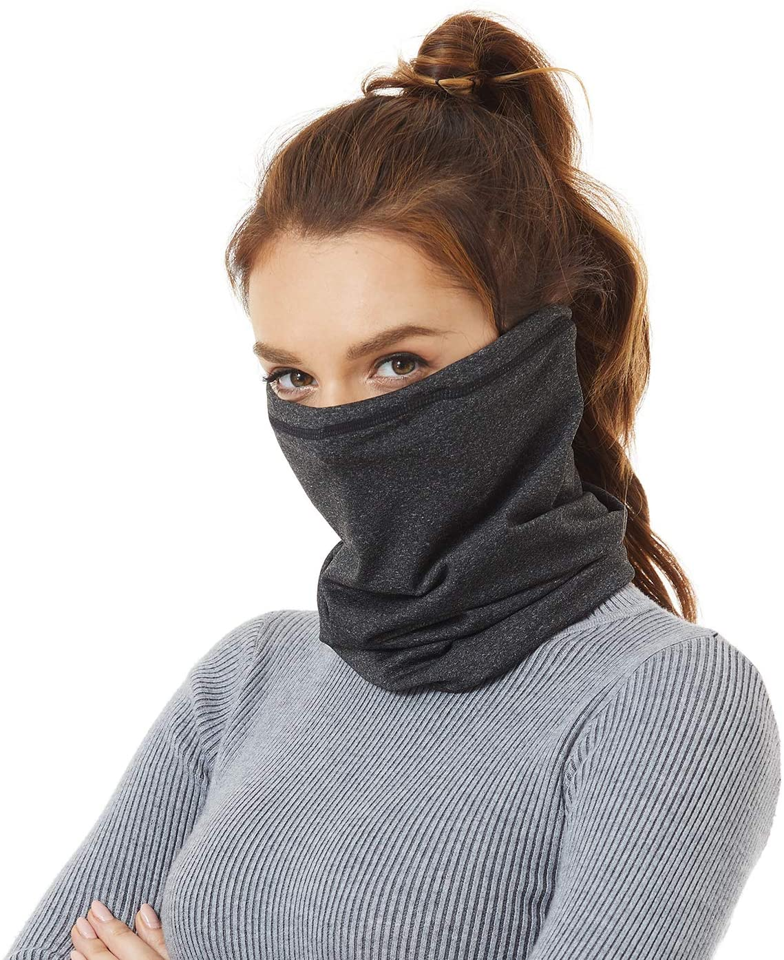 Winter Neck Gaiter Warmer, Fleece Adjustable Elastic Closure Face Cover Mask for Women and Men, Suitable for Skiing Fishing Running Cycling Outdoor Recreation in Cold Weather