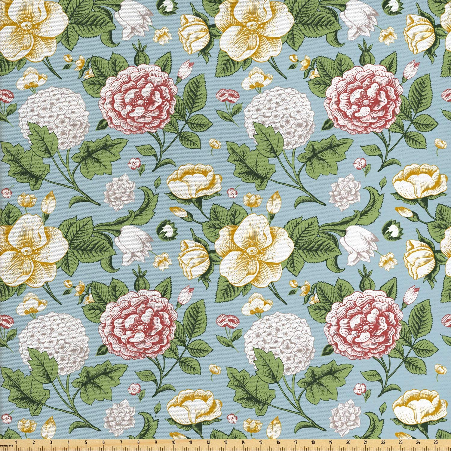 Ambesonne Colorful Fabric by The Yard, Vintage Style Chrysanthemum Flowers and Hoya Blooms Illustration, Decorative Fabric for Upholstery and Home Accents, 1 Yard, Pale Blue Grey Multicolor