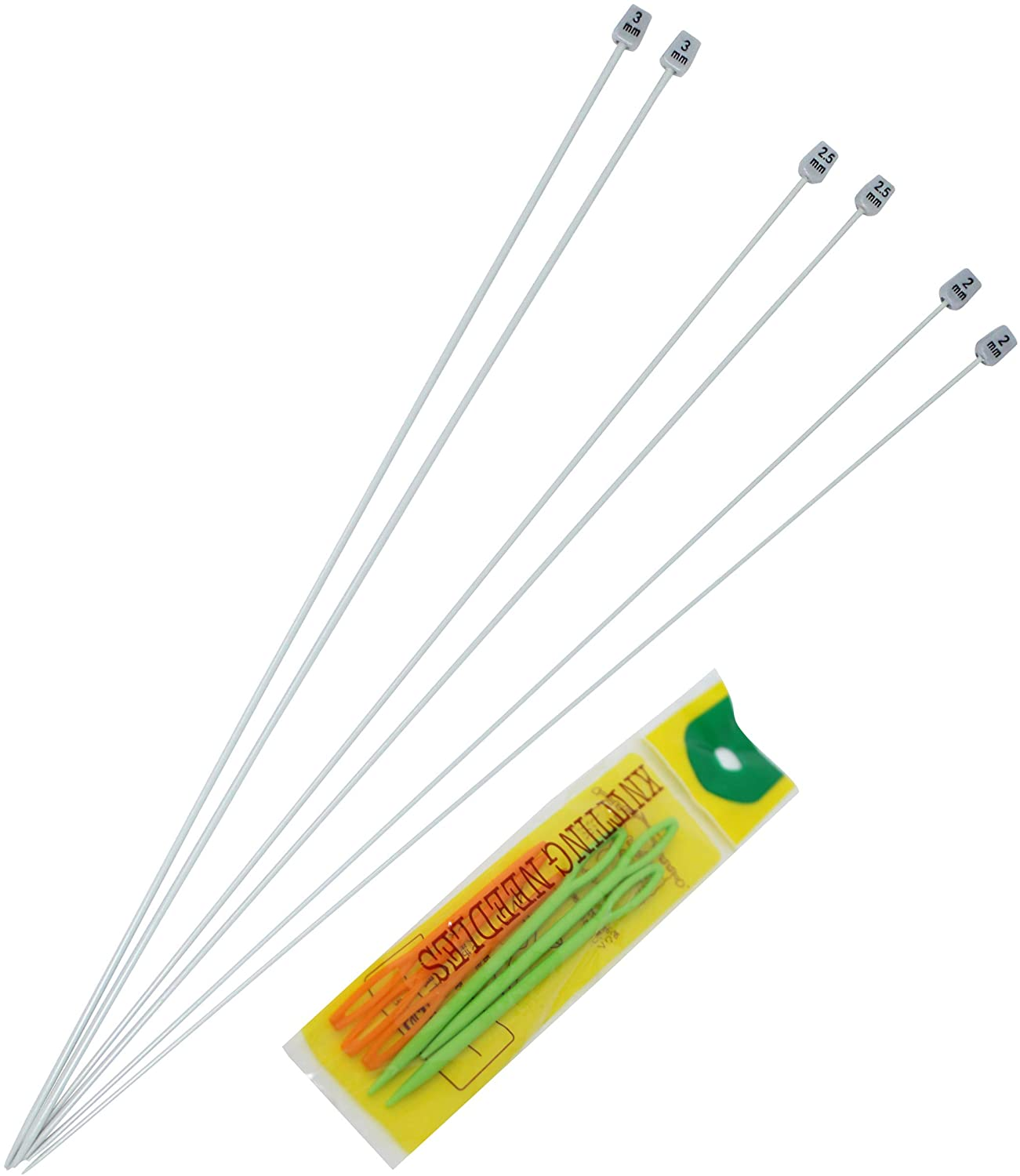 KnitPal 16-inch(40cm) Straight Metal Knitting Needles 3 Paris, US Sizes 0, 1 and 2.5 (2,2.5 and 3mm), Ebook incl.