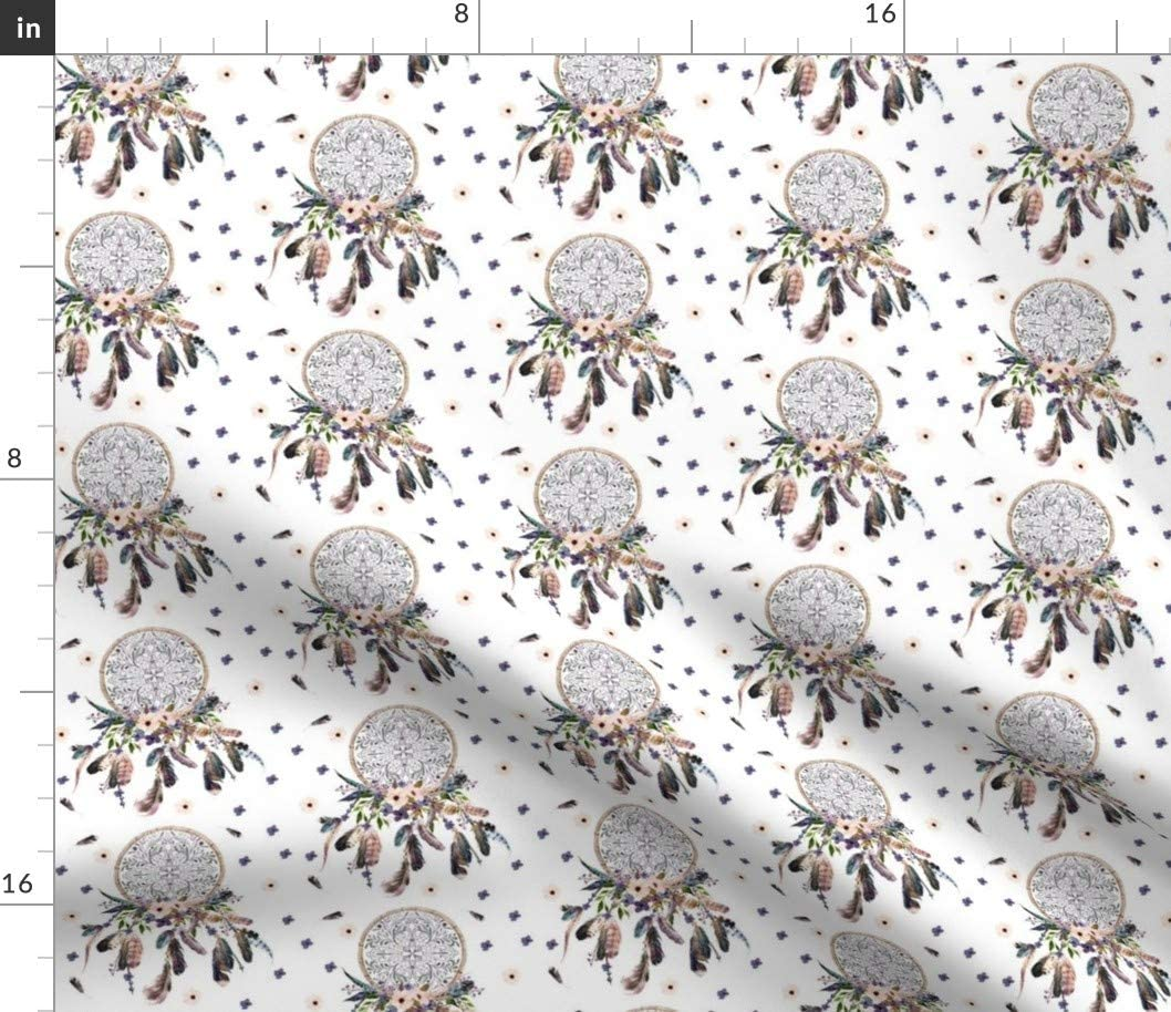 Spoonflower Fabric - Dream Catcher Lavender Purple Dreamcatcher Boho Floral Flowers Printed on Cotton Poplin Fabric by The Yard - Sewing Shirting Quilting Dresses Apparel Crafts