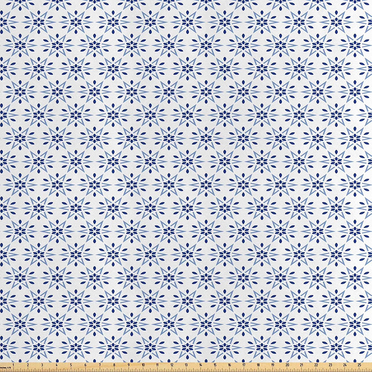 Lunarable Floral Fabric by The Yard, Circles with Floral Nature Details in Hexagonal Order and Blue Tones Print, Decorative Satin Fabric for Home Textiles and Crafts, 1 Yard, Violet Blue White