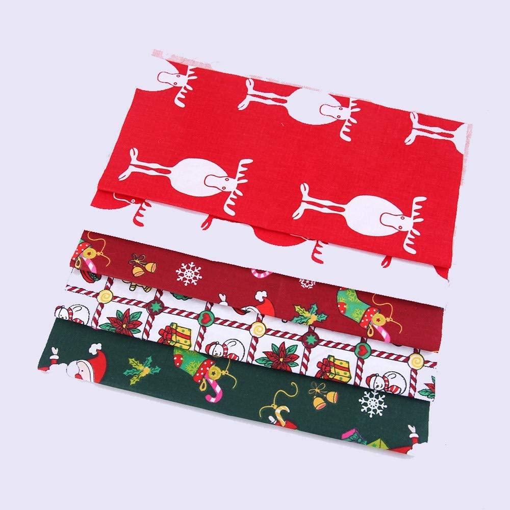 ZUZZEE 5PCS Christmas Cotton Fabric Decor 2525cm Squares Precut Quilting Fabric Patchwork Snowflake Print Xmas Cloth DIY Christmas Gifts(9.8'' x 9.8'')
