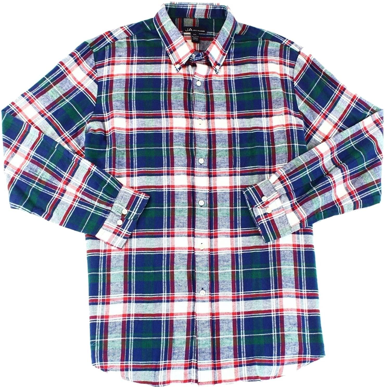 John Ashford Mens Meridian Flannel Plaid Button-Down Shirt