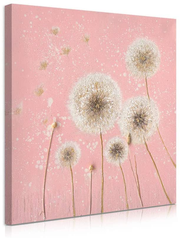 B BLINGBLING Dandelion Canvas Wall Art: Pink Dandelion Picture Wall Decor Bedroom Decor for Women with Frame and Ready to Hang (12