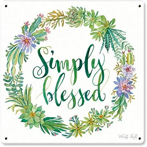 Maizeco Metal Tin Signs Simply Blessed Plaque Poster for Patio Indoor Room Garage Home Decor Decorative Wall Sign 12 x 12 Inch