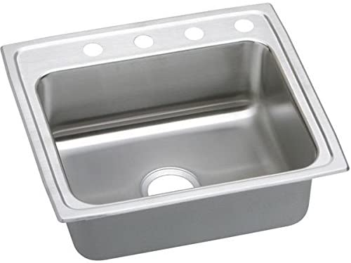 Elkao|#Elkay LRQ25214 18 Gauge Stainless Steel 25 Inch x 21.25 Inch x 7.875 Inch single Bowl Top Mount Quick-Clip Kitchen Sink, 4 Faucet Holes,