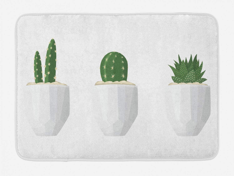 Lunarable Potted Cacti Bath Mat, Green Botanical Succulents in Geometric Pots Minimalist Pattern, Plush Bathroom Decor Mat with Non Slip Backing, 29.5