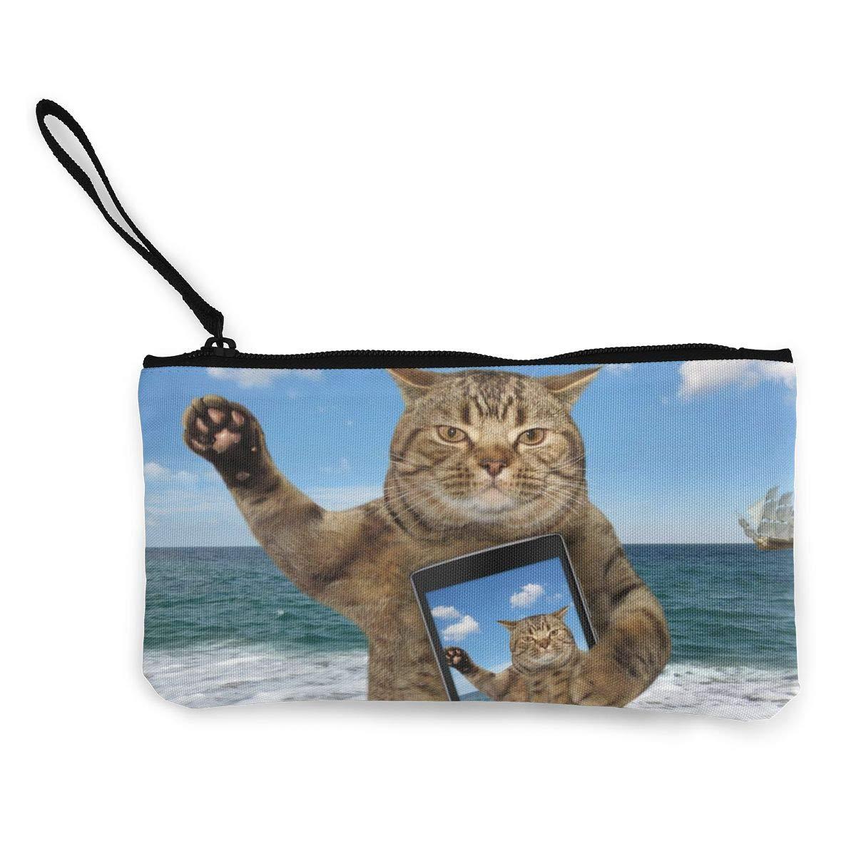 Cosmetic Toiletry Sandy Beach Selfie Cat Makeup Bag For Women Men Travel Bag