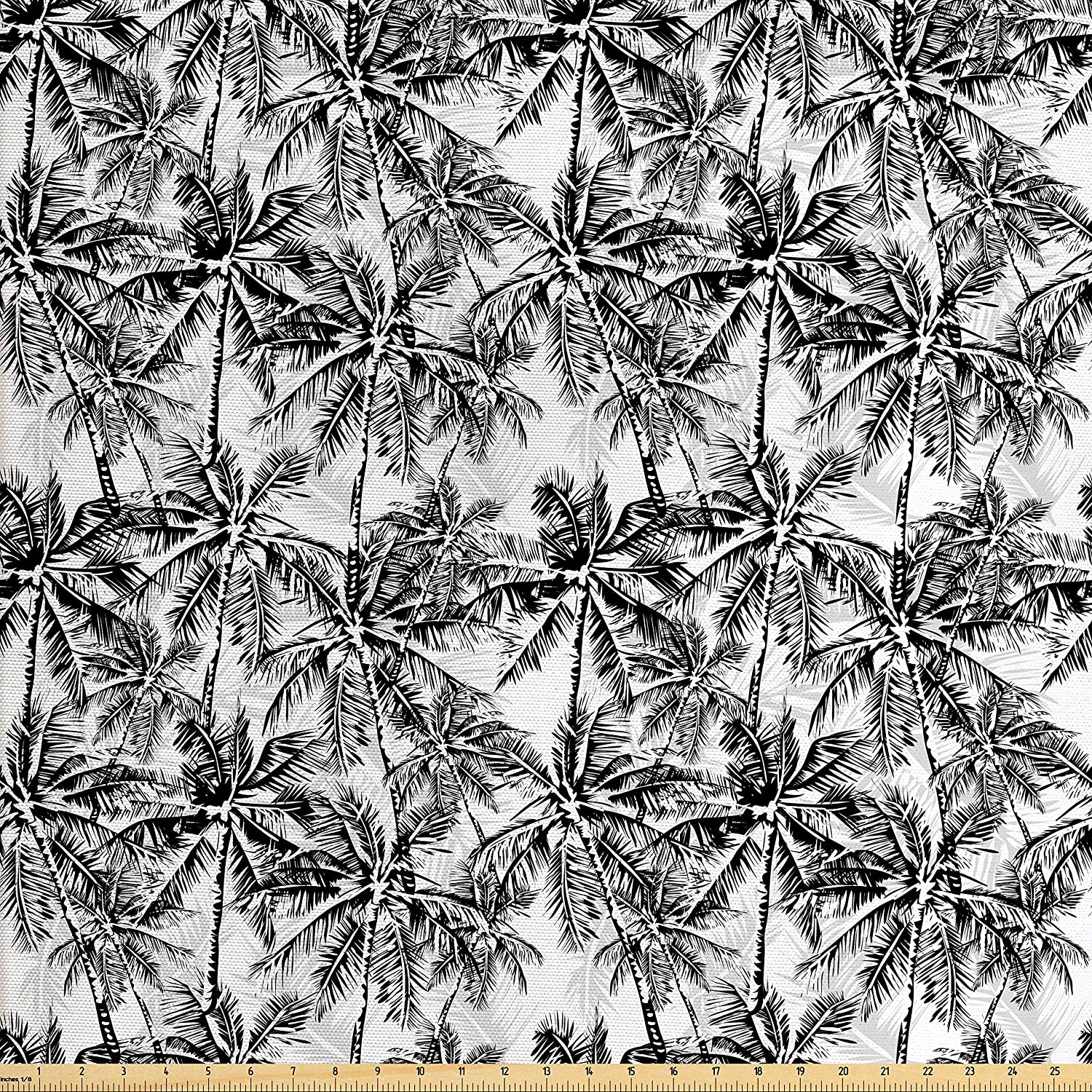 Ambesonne Palm Tree Fabric by The Yard, Monochrome Woodland Pattern Depicting Black Palm Tree on a White Background, Decorative Fabric for Upholstery and Home Accents, Black White
