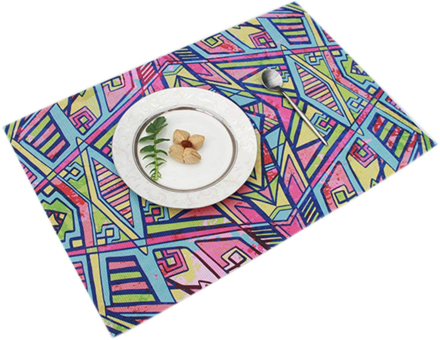 Waterproof Insulated Table Mats Bedding Persian Rug Placemats, Floral Damask Decorative Cotton Linen Woven Dining Table Mats