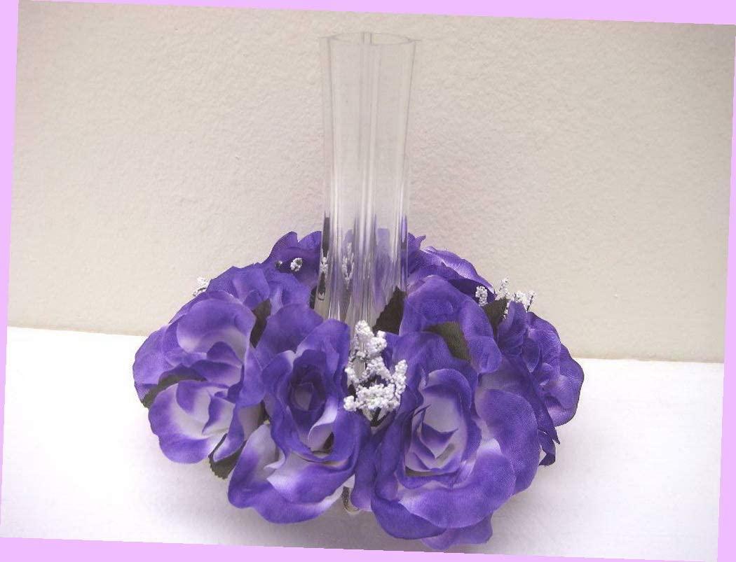 Artificial 2 Purple Candle Rings Roses Center Pieces Artificial Silk Flowers 3 4005 Pu Bouquet Realistic Flower Arrangements Craft Art Decor Plant for Party Home Wedding Decoration