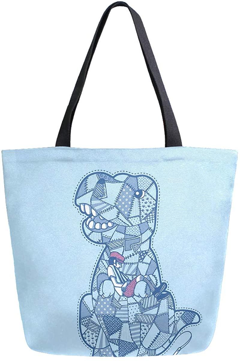Woman Tote Bag Shoulder Blue Dinosaur Handbag for Work Travel Business Beach Shopping School