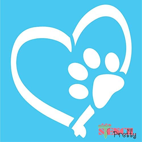 Dog Paw Print & Heart Stencil - DIY Kennel Sign Pet Love Template Best Vinyl Large Stencils for Painting on Wood, Canvas, Wall, etc.-S (12.5