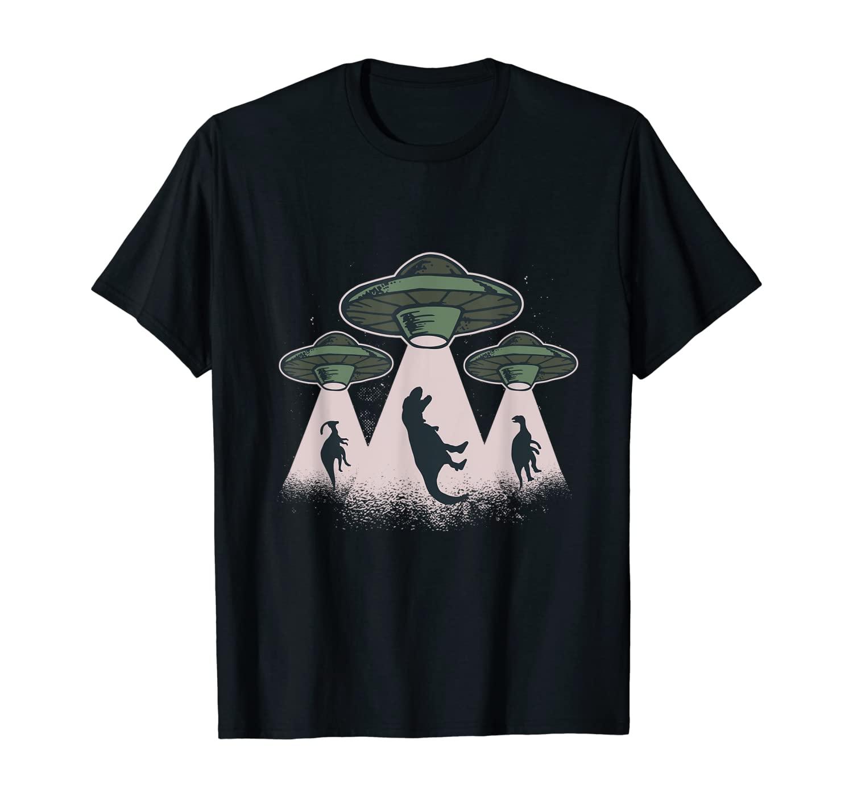 Funny Alien UFO T-Rex Abduction T-Shirt