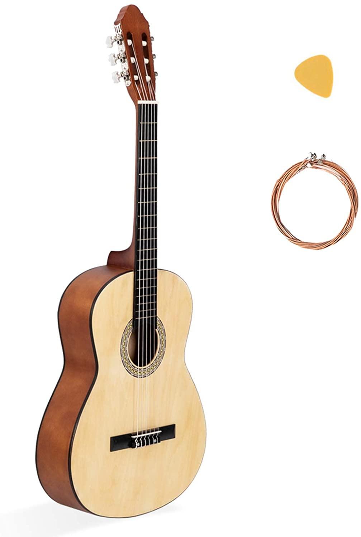 39 Inch 4/4 Size Classical Guitar 19 Frets Beginner Kit for Students Children Adult String Pick Burlywood - Affordable & Professional Student Guitar for Beginner Starter