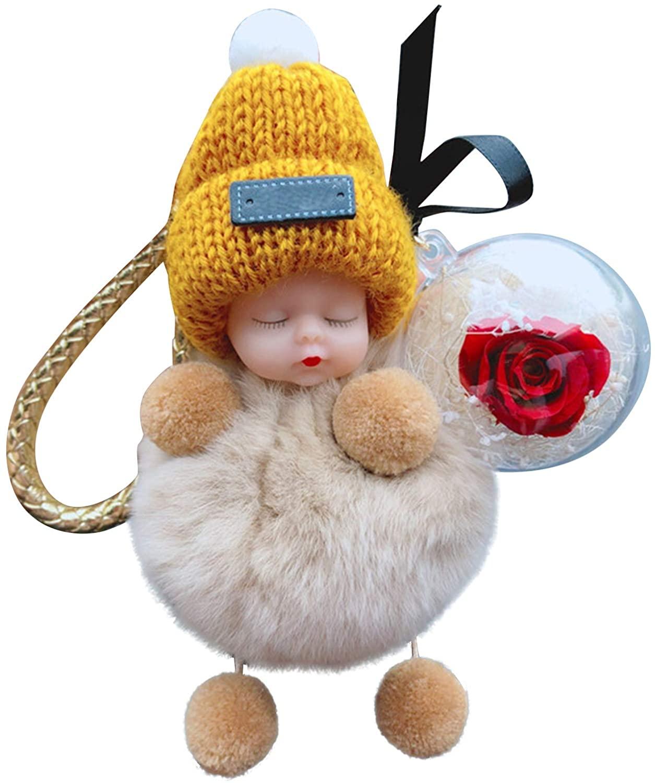 UpdateClassic Super Cute Fluffy Doll Keychain Sleeping Baby Car Key Ring Plush Flower Keychain Cute Car Accessories Bag Pendant