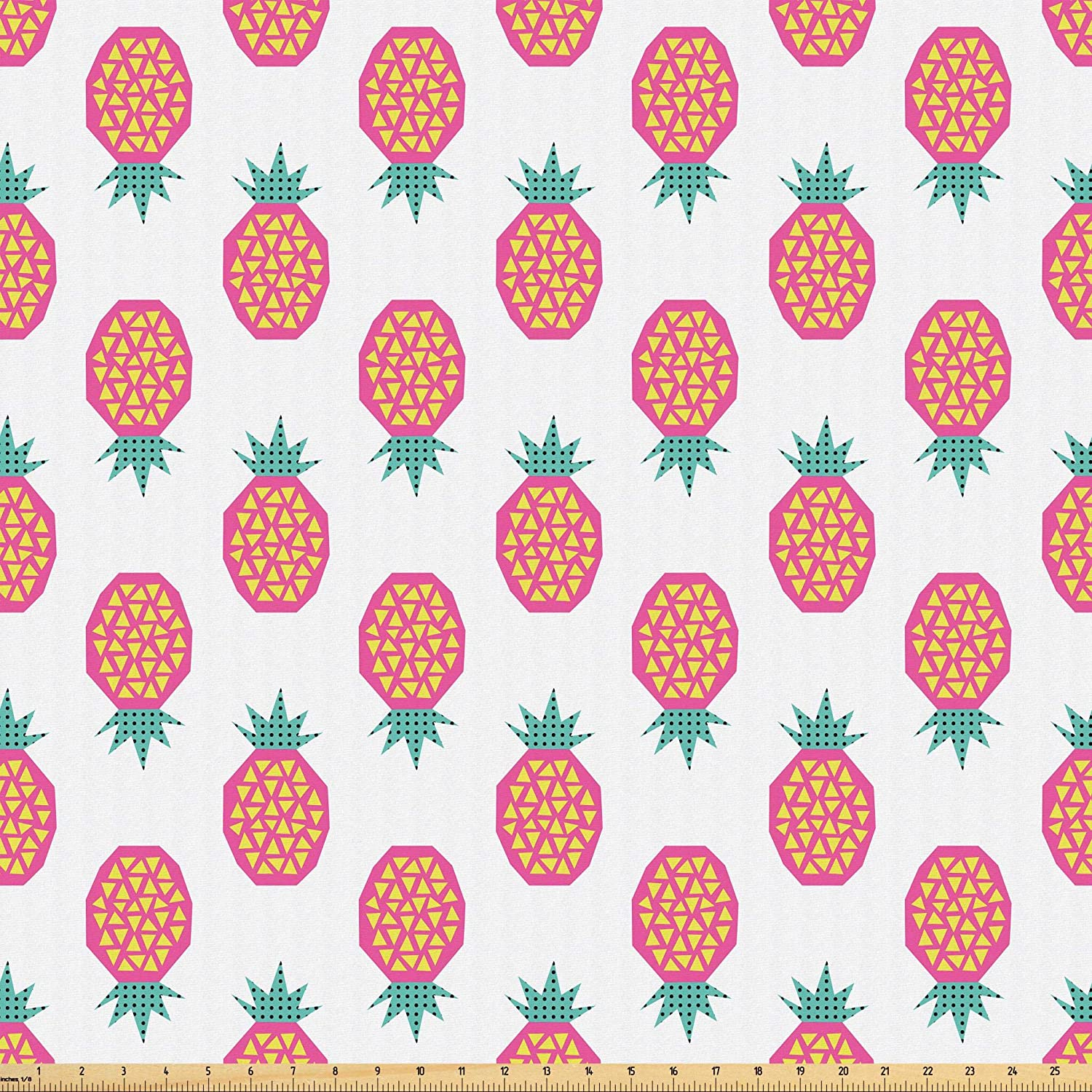 Lunarable Retro Modern Fabric by The Yard, Tropical Theme Exotic Pineapples with Triangular Details, Microfiber Fabric for Arts and Crafts Textiles & Decor, 10 Yards, Pale Sea Green Pink and Yellow