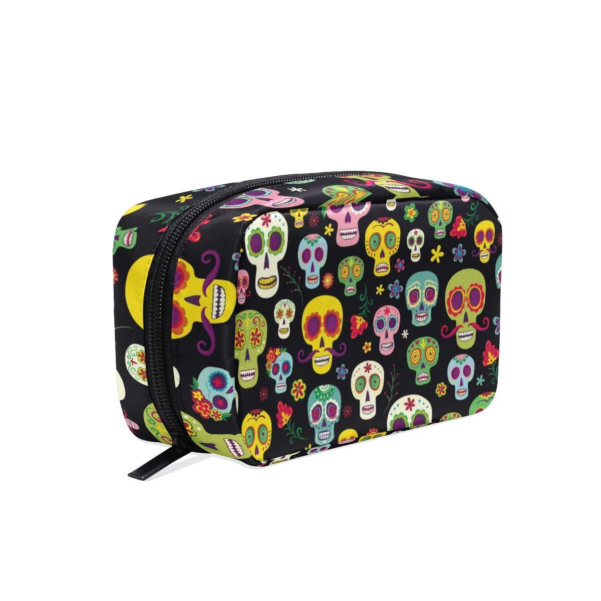 Women's Makeup Cosmetic Bag Sugar Skulls Makeup Bag for Travel Cosmetic Pouch Brush Bag(908d20)