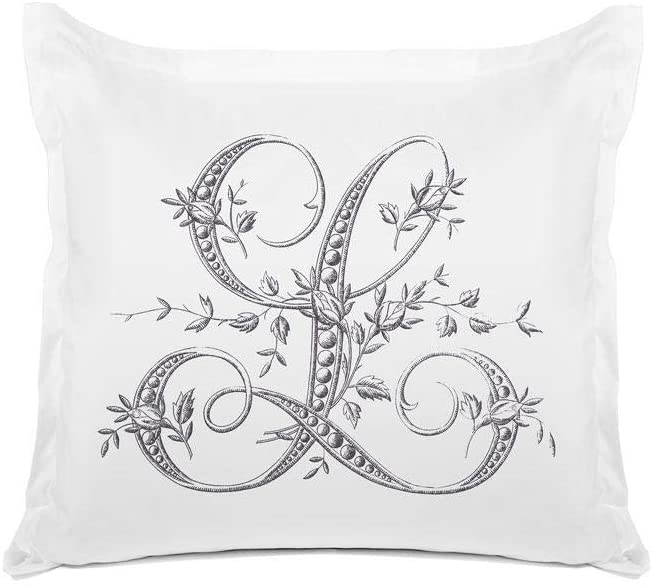 Di Lewis Pillowcase - Vintage French Monogram Letter L Pillow Case - Hypoallergenic, Breathable, Anti Wrinkle, White - 26x26 Euro Sham