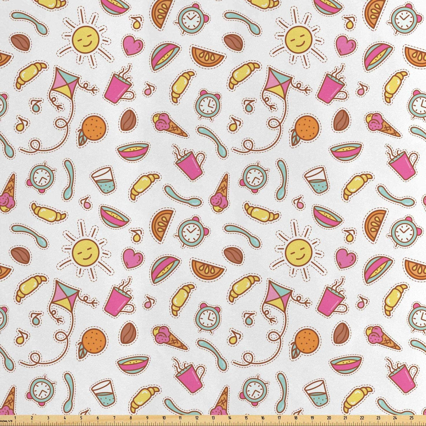 Lunarable Nursery Fabric by The Yard, Doodle Style Nursery Design Ice Cream Burgers Clock Sun Toddler Baby Cartoon, Decorative Satin Fabric for Home Textiles and Crafts, Multicolor