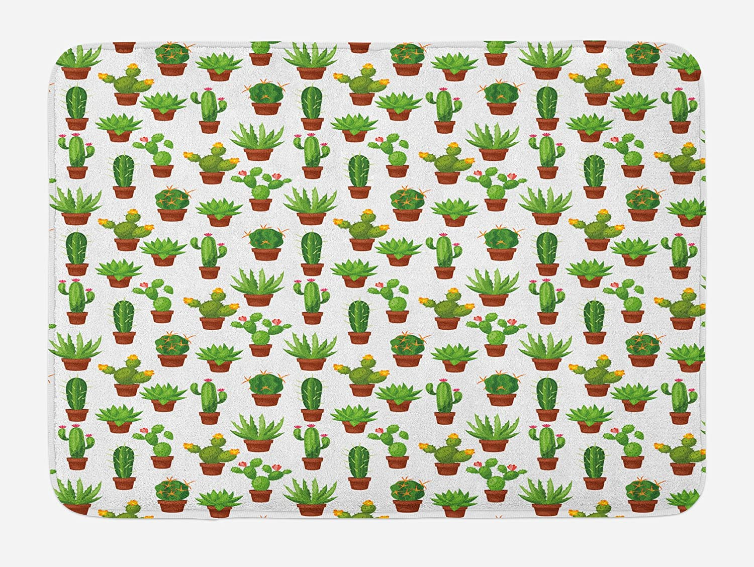 Lunarable Flowers Bath Mat, Floral Theme Abstract Illustration of Cactuses in Flower Pots Print, Plush Bathroom Decor Mat with Non Slip Backing, 29.5