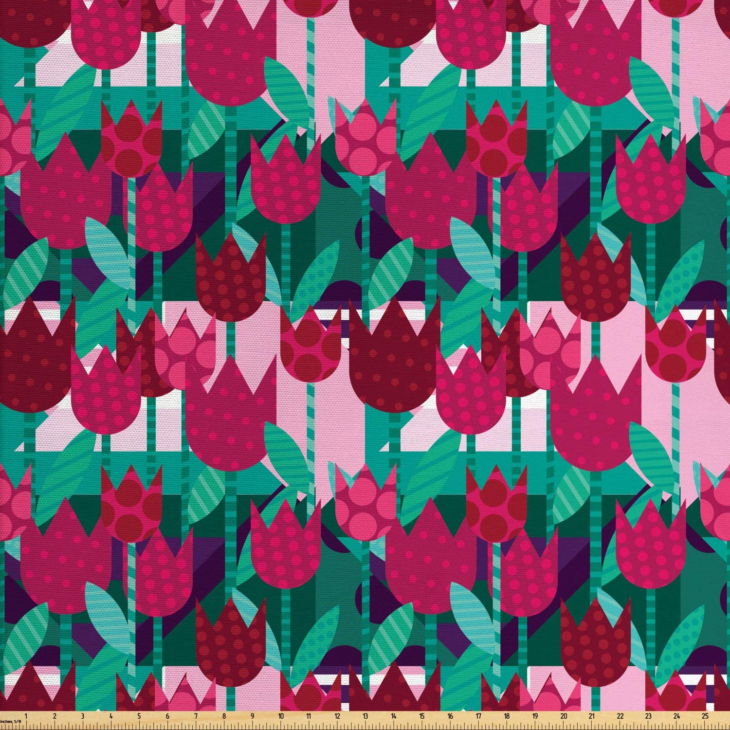 Ambesonne Floral Fabric by The Yard, Abstract Art Flower Polka Dotted Tulips on Geometric Background Illustration, Decorative Fabric for Upholstery and Home Accents, 1 Yard, Jade Green and Red