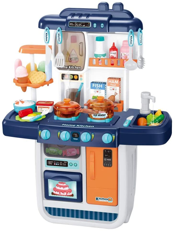 AMOF Kids Kitchen Playset with Real Cooking and Simulation Spray,Role Play Toys with Circulating Water Light and Sound for Children Boy Girl Gifts