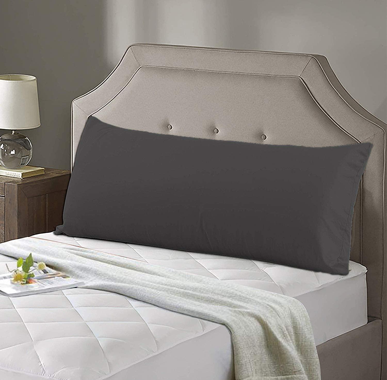Dark Gray Pillow Shams Set of 1pcs - Luxury 850 Thread Count 100% Organic Cotton Body Pillow Pillowcase - Hypoallergenic Non-Zippered Envolap closure Hotel Quality Body Pillow Cover - 21
