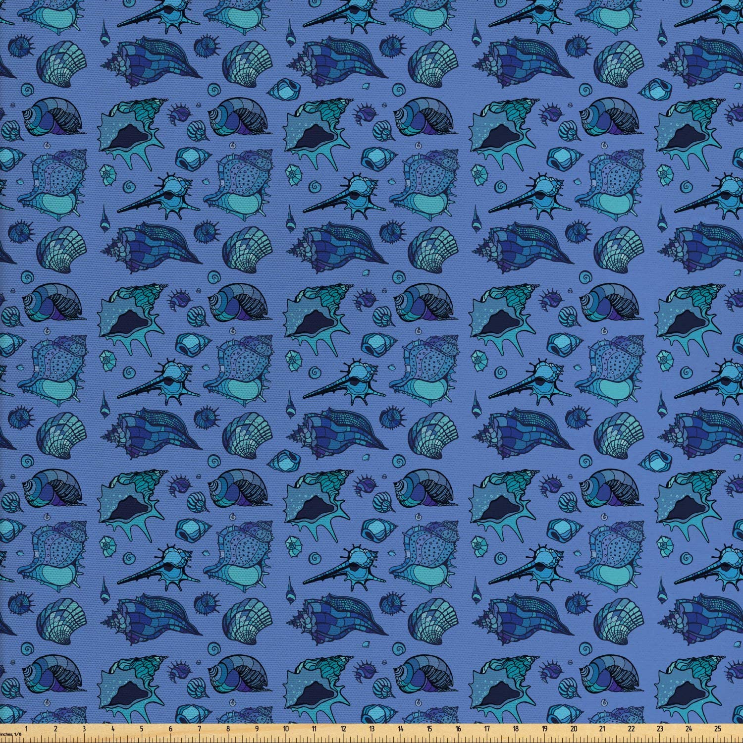 Ambesonne Nautical Fabric by The Yard, Assorted Seashells Swirling Ocean Items, Decorative Fabric for Upholstery and Home Accents, 1 Yard, Aqua Dark Lavender