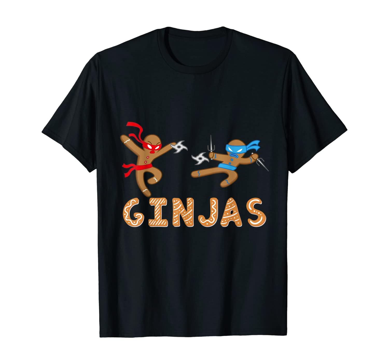 Ginjas Gingerbread Ninjas Funny Christmas Cookie Pun T-Shirt