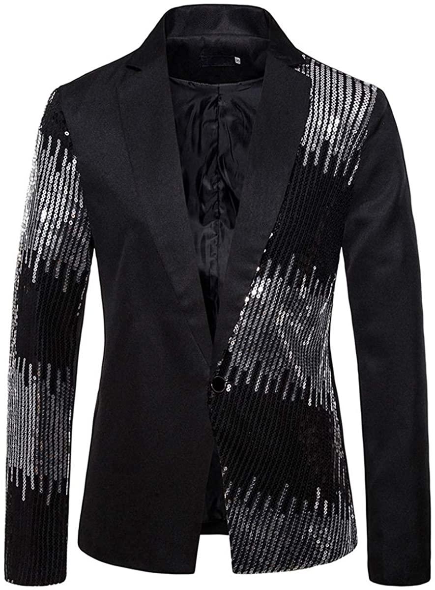 Mens Party Dress Suit Jacket 1 Button Sequin Tux Blazer Dinner Sport Coat