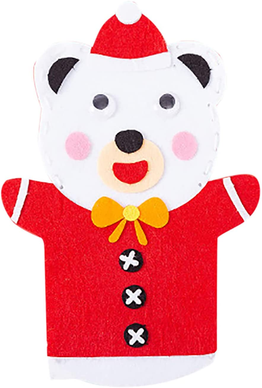 EDTO DIY Craft Sewing Felts Cartoon Santa Christmas Hand Puppet Glove Toy Kids Gift, Non-Woven Felt Fabrics Sewing Kit, Christmas Decoration Glove Doll Toy for Children (D)