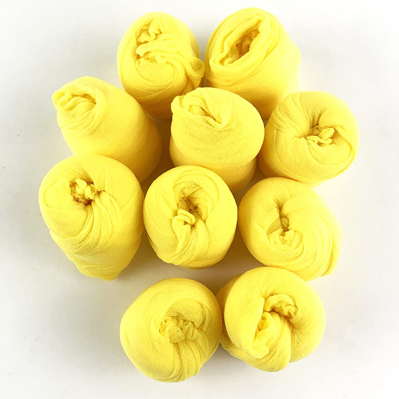 Worlds 10PC Nylon Stockings Flower for DIY Flower Making (Yellow)