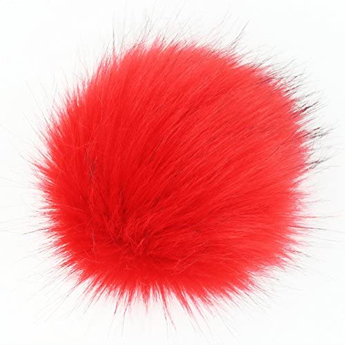 SUSULU Pack of 12 Faux Fox Fur Pompoms for Hats 4.7inch 12CM (Red)