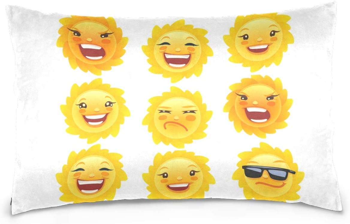 Kaariok Funny Sun Happy Cotton Pillowcase Queen Size Decorative Soft Pillow Case Cover Protector with Hidden Zipper 20 X 30 Inches