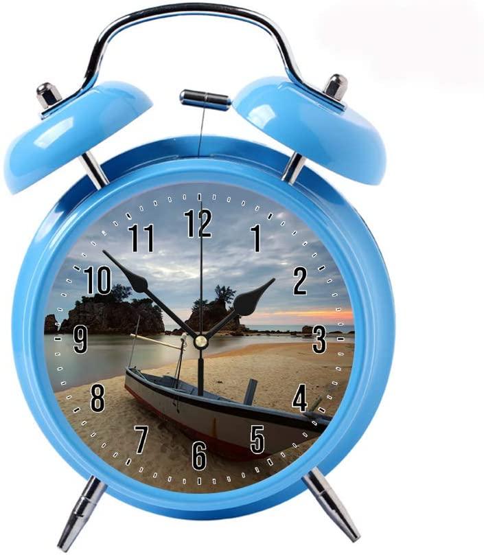COPUEA Creative Child Retro Alarm Clock Twin Bell Alarm Clock Backlight Desk Clock Blue Alarm Clock GiftBoat Parked on The Seashore
