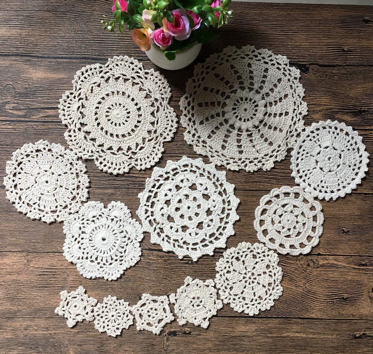 MindPlus 24Pcs 100% Cotton Hand Made Crochet Doilies Cup Mat Pad Coaster 12 Vintage Crochet Motifs 2-7 inches Round Beige (24pcs beige)