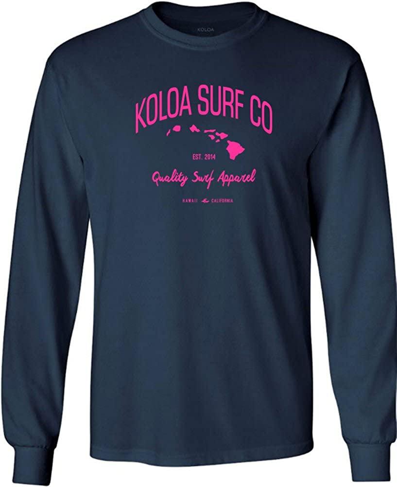 Joe's USA Koloa Surf(tm) Long Sleeve Islands Logo Heavy Cotton T-Shirt-Navy/Pink-2XL