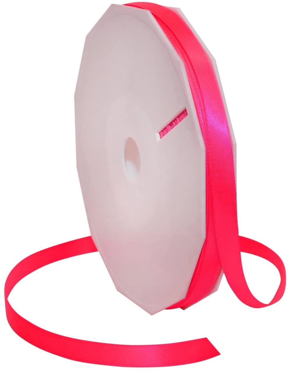 Morex Ribbon Neon Brights Satin, 3/8-inch by 50-yard, Neon Hot Pink