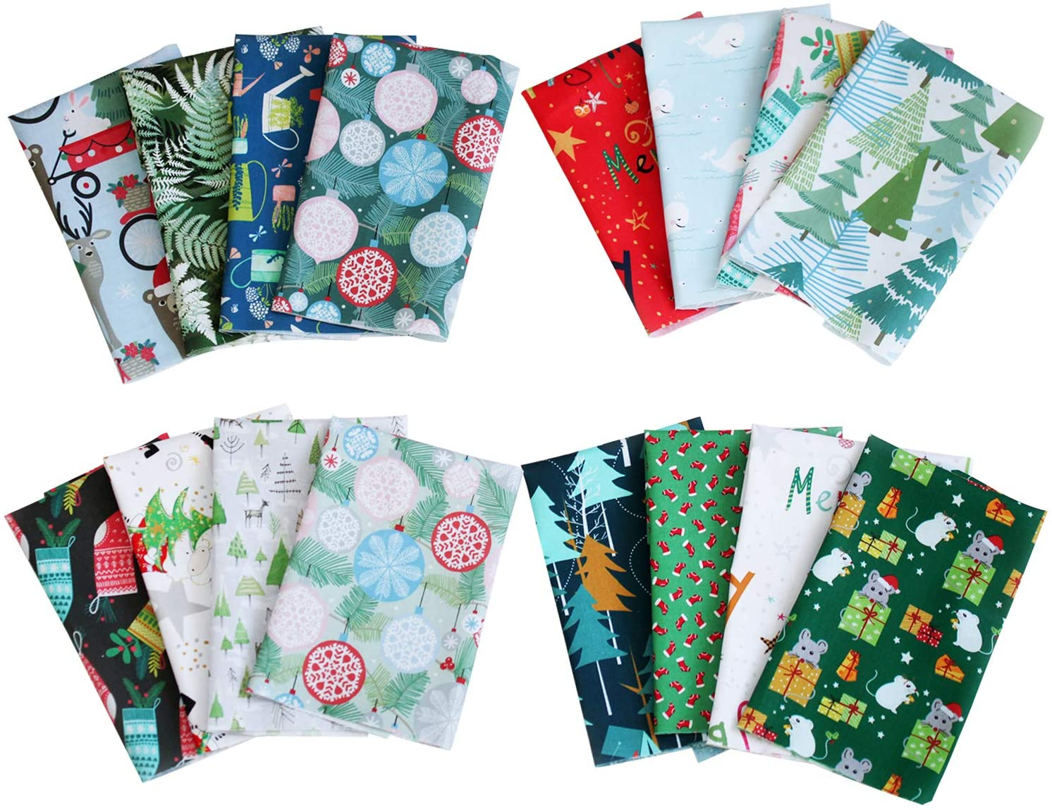 16 Pcs Cotton Craft Fabric Bundle Quilting Fabric with Different Patterns Fabric Patchwork Craft Cotton Quilting Fabric for Sewing Quilting Patchwork Craft Scrapbooking