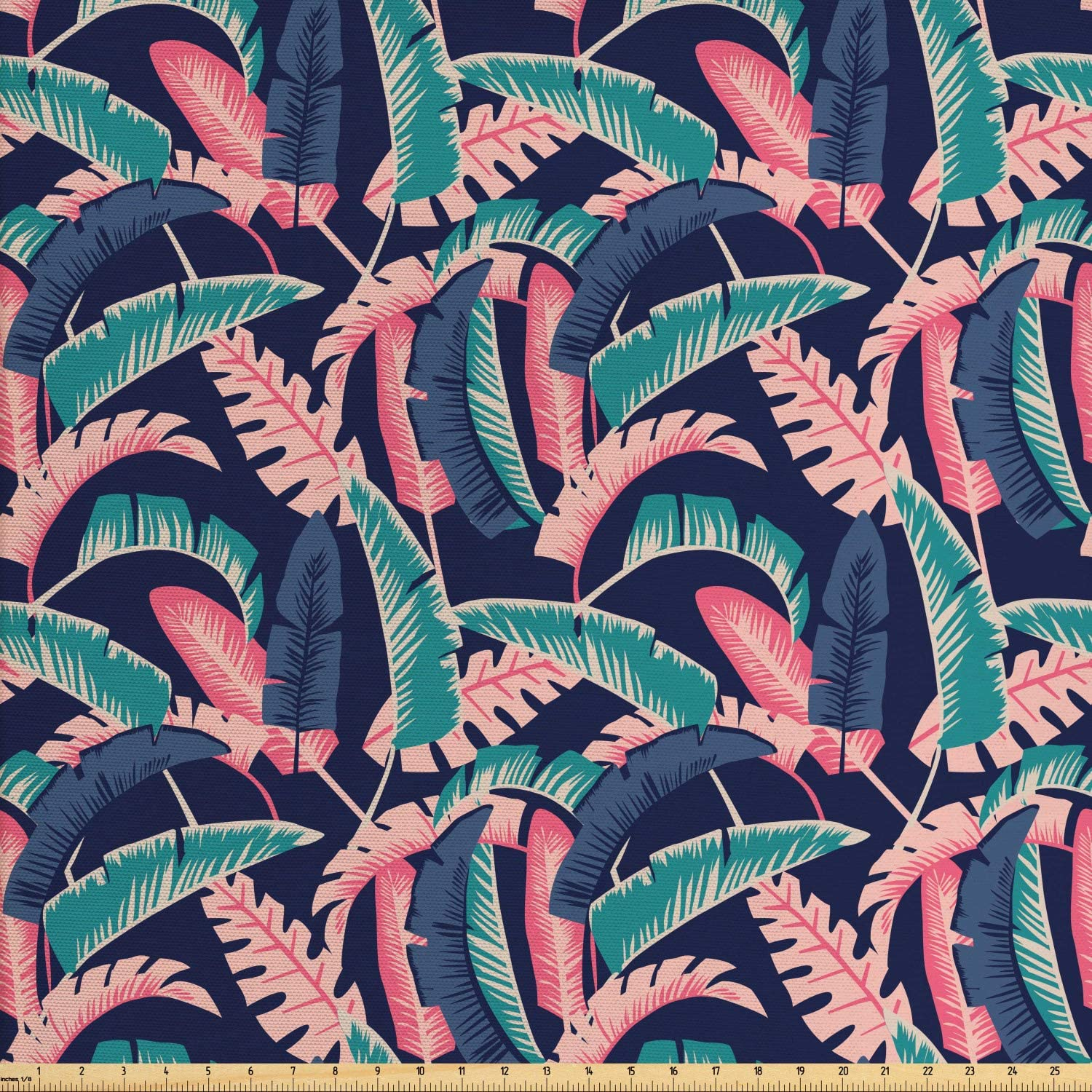 Ambesonne Tropical Fabric by The Yard, Hawaiian Exotic Banana Leaves Pattern, Decorative Fabric for Upholstery and Home Accents, 1 Yard, Dark Lavender Pale Pink