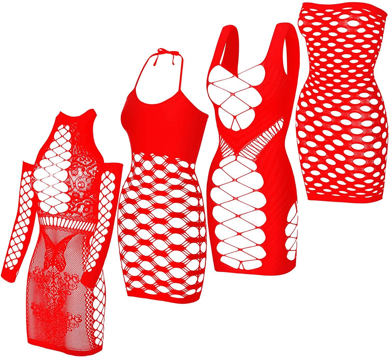 4 Pieces Women Mesh Lingerie Fishnet Mini Dress Hollow Out Babydoll Bodysuit