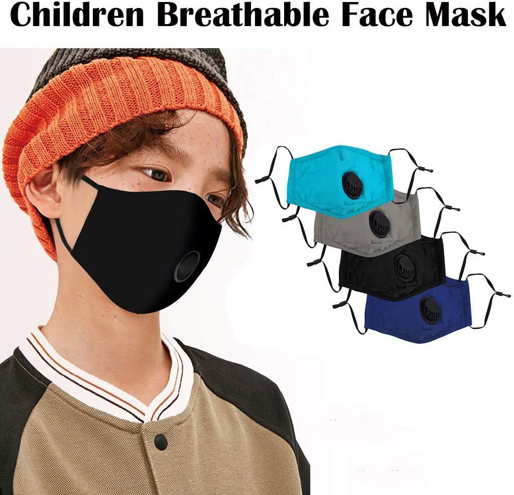 4PC Unisex Facial Protection Filtration for Kids, Anti-Fog, Dust-Proof Face Scarf with Ajustable Earhook mask Washable Reusable Cotton Mouth Protection