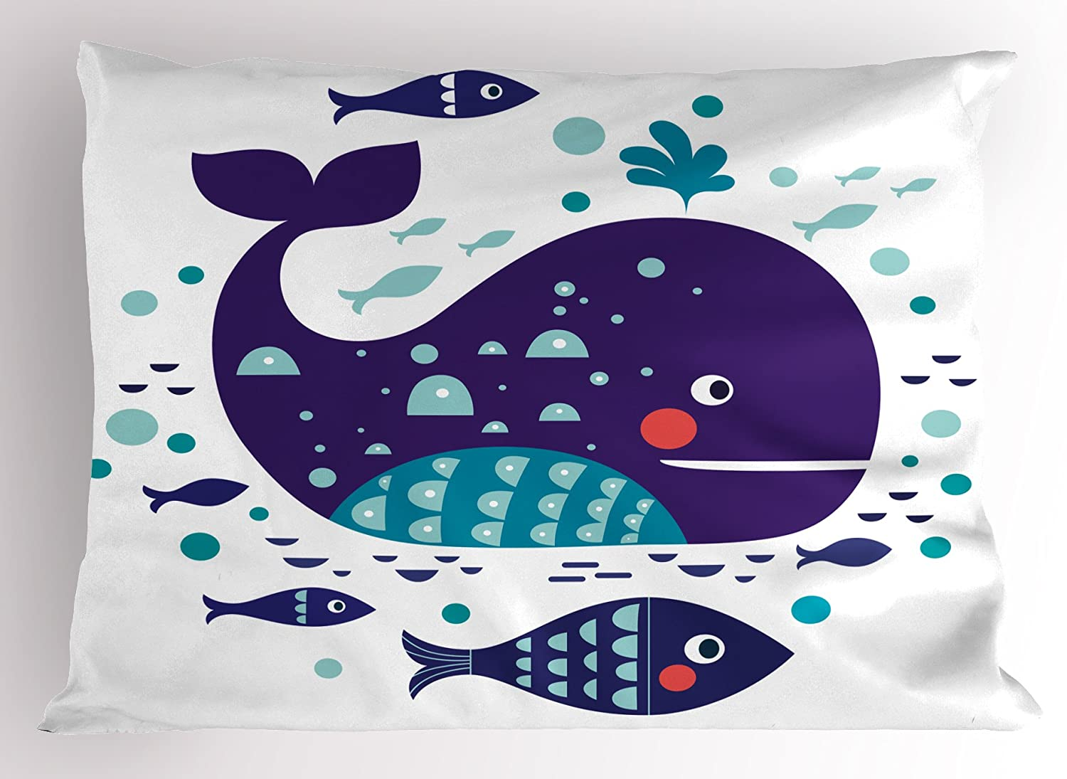 Ambesonne Whale Pillow Sham, Navy Sea Theme Cartoon Big Fish with Others in Ocean Swimming Image Art, Decorative Standard Size Printed Pillowcase, 26
