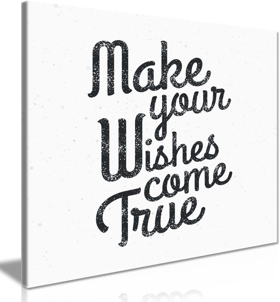Motivational Make Your Wishes Come True Canvas Wall Art Picture Print (24 x 24 Inch)