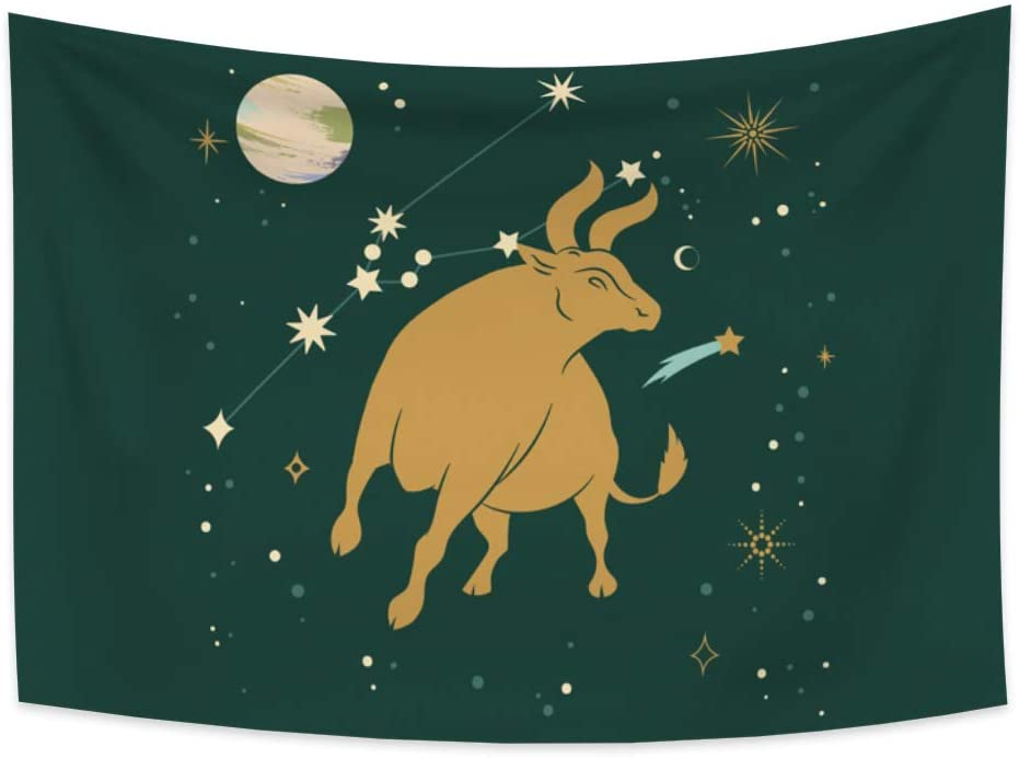 Renaiss 70.9x63 Inches Constellations Tapestry Trippy Cow Taurus Astrology Stars Universe Wall Hanging Art Printed Mural Large Wall Decorr for Bedroom Dorm Tablecloth Bedspread Picnic Mat