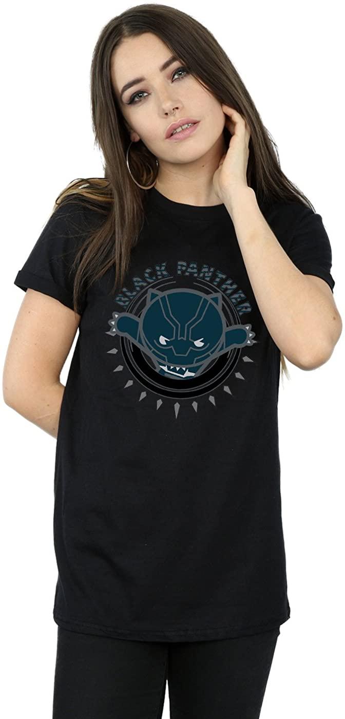 Marvel Womens Kawaii Black Panther Pounce Boyfriend Fit T-Shirt Black XXX-Large